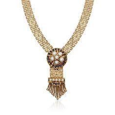 """Ross-Simons - C. 1980 Vintage 1.85 ct. t.w. Sapphire and Cultured Pearl Mesh Tassel Necklace in 14kt Yellow Gold. 15.5"""" - #818465"""