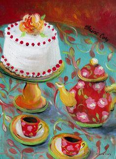 Eat Cake Still Life Painting 12 x 16 Original di ElainesHeartsong