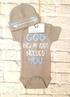 A personal favorite from my Etsy shop https://www.etsy.com/listing/540466037/baby-boy-clothes-god-knew-my-heart