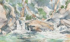 Forest Waterfall - The massive boulder in midstream is a perfect place to sit and enjoy the cool breeze that follows the creek down from the high mountains.