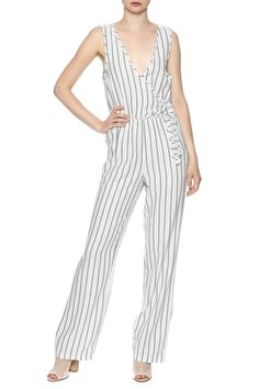 Easy going, trend right alternative to classic summer dresses. The wrap front neckline balances the pant's wide leg, while a defined waistband highlights the narrowest part of your figure.   Stripe Jumpsuit by Cupcakes & Cashmere. Clothing - Jumpsuits & Rompers - Jumpsuits Avalon, New Jersey