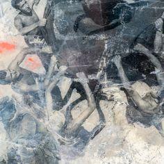 Plakbandcollage afgewerkt met epoxyhars. 120 x 90 x 4 cm, 2015