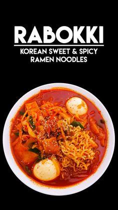 Rabokki Korean Sweet & Spicy Ramen Recipe & Video - Seonkyoung Longest Jump to Recipe·Print Recipe Hi guys! Today, I'm sharing Rabokki recipe! Rabokki is pretty much same as tteokbokki– rice cake in sweet and spicy sauce! Spicy Ramen Recipe, Spicy Recipes, Asian Recipes, Cooking Recipes, Healthy Recipes, Ethnic Recipes, Lasagna Recipes, Ham Recipes, Steak Recipes