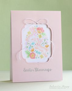 Melania Deasy for Avery Elle using our Easter Blessings stamp set and our You're Invited Die set along with an A2 top folding note card from our Sugar Collection.