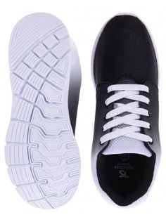 Twisted Soul Mens Black Fade To White Mesh Lace Up Trainer
