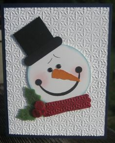 Black & White Embossed Snowman Card...