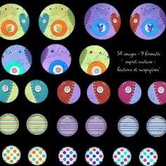 54 images digitales pour cabochon esprit couture : boutons et surpiqûres : Images digitales pour bijoux par patouille-et-gribouille