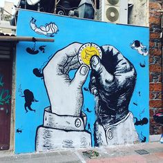 We are only in it for the Sky and the Casino / By Banda Cosmos en Atenas, Grecia con Bibbito + Dadà Street Wall Art, Street Art Graffiti, Street Art Utopia, Sidewalk Chalk Art, Charlie Chaplin, City Style, Street Artists, Urban Art, Wall Murals
