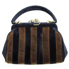 1960s Fendi Velvet Striped Bag  | From a collection of rare vintage top handle bags at https://www.1stdibs.com/fashion/handbags-purses-bags/top-handle-bags/