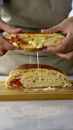 Recipe with video instructions: If you're a fan of warm ham and cheesy goodness, you'll love this. Bread Recipes, Cooking Recipes, Good Food, Yummy Food, Food Videos, Food Porn, Easy Meals, Food And Drink, Relleno