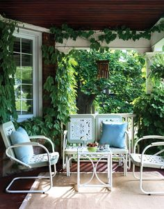Leafy front porch   House & Home