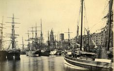 Liverpool docks, c.1875. Various types of sailing ships and no steamer can be see.