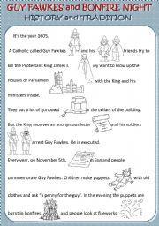 English worksheet: Guy Fawkes and Bonfire Night