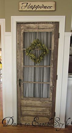 Charming, Vintage inspired home tour in Connecticut {Colonial style hallway door options-- Great pantry door for a farm house kitchen. Dishfunctional Designs: New Takes On Old Doors: Salvaged Doors Repurposed Old Screen Doors, Front Doors, Barn Doors, Sliding Doors, Screen Door Pantry, Door Hinges, Door Knob, Front Entry, Salvaged Doors