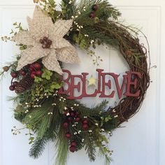 Christmas Wreath for Front Door-Holiday Wreath-Rusty Sleigh Bell Wreath-Wooden Sign-Believe Wreath-Holiday Door Wreath-Rustic Wreath Christmas Wreaths For Front Door, Christmas Door, Holiday Wreaths, Christmas Crafts, Christmas Decorations, Winter Wreaths, Elegant Christmas Decor, Rustic Christmas, Holiday Decor