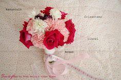 Un ramo de novia en rosa y rojo