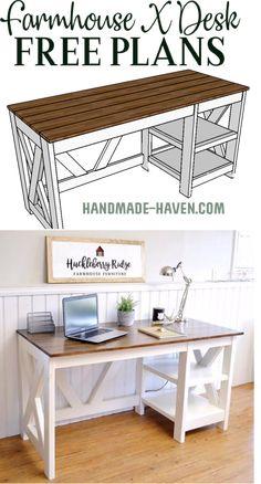 Make this super cute farmhouse X desk with free plans