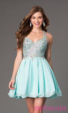 Short A-Line Racer Back Beaded Prom Dress at PromGirl.com