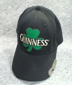 Mens Guinness Beer Baseball Hat Cap Bottle Opener on bill official St. Patricks #Guinnessirishbeer #BaseballCap