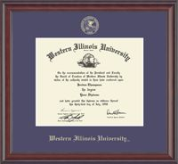 Western Illinois University Diploma Frame - Features the school name and official seal gold embossed on purple museum-quality matting. It is framed in our Studio moulding crafted of solid wood with a deep mahogany furniture finish.