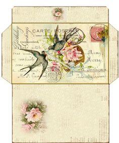 Envelope with birds/ Vintage card Vintage Diy, Images Vintage, Vintage Tags, Vintage Ephemera, Vintage Paper, Vintage Postcards, Envelope Template Printable, Printable Letters, Printable Paper