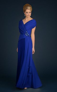 Daymor Couture - 701 V-Neck A-Line Gown in Sapphire Long Mothers Dress, Mother Of The Bride Dresses Long, Mother Of Bride Outfits, Mothers Dresses, Glam Dresses, Mob Dresses, Prom Dresses Online, Wedding Guest Gowns, Long Evening Gowns