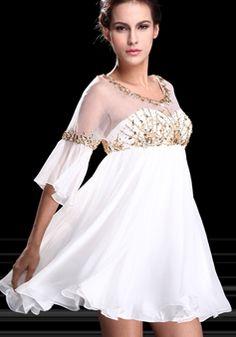 A line Scoop Above Knee Chiffon Empire Waist Evening Dress With Beading - 1300305895B - US$199.99 - BellasDress