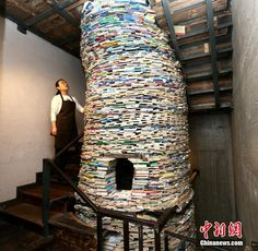 A six-metre tall 'book tower' built in the middle of a cafe in Xi'an, Shaanxi Province.