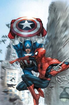 wearetheheroes:    THE SENTINEL OF LIBERTY TAKES ON SPIDER-MAN BY LEINIL YU!