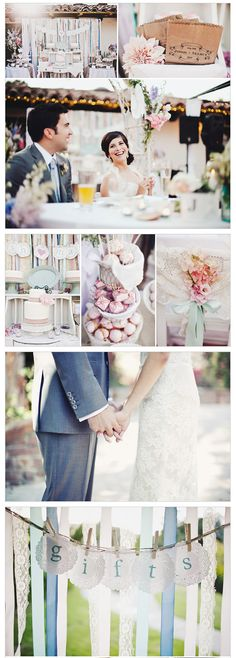 Vintage Lace Wedding Theme - I love the doily ideas for banners.