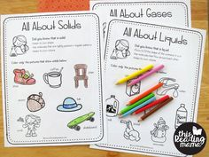 states of matter learning pages kids can color
