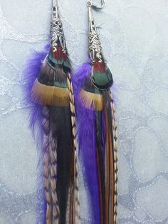 Feather Earrings - Purple Brown Ginger Cream Red Green Striped feathers w Brass Ornate Cones - Boho Chic Festival Wear by MEDICINA Designs