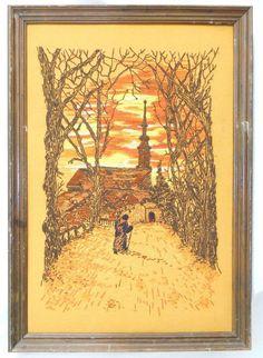 Monk or pilgrim in a fall landscape, walking towards a church. Fiery shades of orange and gold. Fall Home Decor, Autumn Home, Orange Painting, Pilgrim, Landscape Art, Textile Art, Fiber Art, Needlework, Vintage World Maps