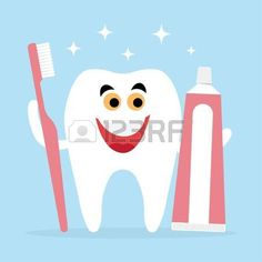 Best Friends of healthy teeth is a toothbrush and toothpaste Vectores
