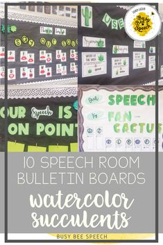 Set of 10 beautiful and functional speech room bulletin boards with a watercolor succulent theme!  Includes letters and posters and editable pages.