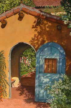 Mary Dove - La Posada Hotel Hollyhock Garden Winslow AZ- Watercolor - Painting entry - February 2012 | BoldBrush Painting Competition