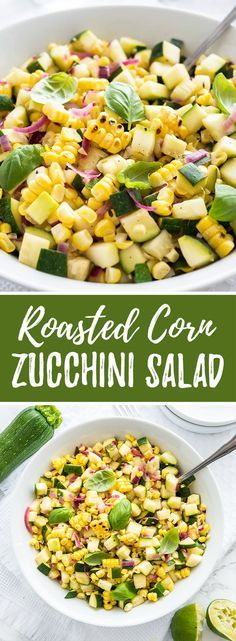 Roasted Corn Zucchini Salad is an easy but so flavorful vegetable side dish made with fresh corn, zucchini, and onions. A delicious summer salad that is perfect for a BBQ party or potluck but also makes a great healthy summer lunch!