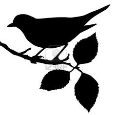 Bird on a Tree Branch Silhouette/ Template/ Stencil. This is a Great Site for all kinds of Silhouettes! Hophop for more :-D >>>>