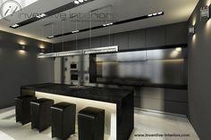 Projekt kuchni Inventive Interiors - otwarta grafitowa kuchnia z dużą podświetlaną wyspą