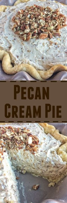 Pecan Cream Pie is a creamy whipped cream pie with maple, brown sugar, and lots of pecans. Pecan Cream Pie is a creamy whipped cream pie with maple, brown sugar, and lots of pecans. Pie Dessert, Eat Dessert First, Dessert Recipes, Great Desserts, Delicious Desserts, Yummy Food, Lemon Desserts, Thanksgiving Pies, How Sweet Eats