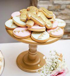 gold glitter first birthday cookies