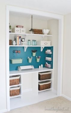 DIY:  Step by step DIY tips to repurpose your disorganized closet into an organized craft space.  Unbelievable transformation!