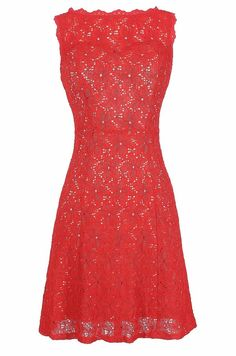 Lace Enchantment Dress in Red  www.lilyboutique.com