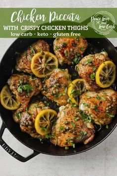 This Keto Chicken Piccata recipe is the perfect quick and easy weeknight dinner. Yet so flavorful that it will taste like you spent hours in the kitchen. Tender, juicy chicken thighs, seasoned and pan-seared to perfection until the skin is nice and crispy, paired with a bright, citrusy lemon-caper butter sauce. It's a delicious one pot meal that can be on the table in less than 30 minutes. Low Carb Chicken Recipes, Keto Chicken, Paleo Recipes, Real Food Recipes, Best Gluten Free Recipes, Crispy Chicken, Pork Recipes, Lemon Butter Chicken