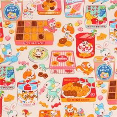 Tissu crème avec des biscuits et des desserts multicolores et des animaux