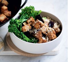 Miso aubergine and tofu stir-fry Low cal and low fat, this easy vegetarian dinner is packed full of flavour and is so simple to make, making it perfect for those midweek meals. Tofu Stir Fry, Healthy Stir Fry, Vegetable Stir Fry, Low Sugar Recipes, Tofu Recipes, Asian Recipes, Snack Recipes, Healthy Recipes, Healthy Food