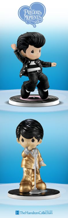 Talk about greatest hits! The little rockers in this Precious Moments Elvis Presley figurine collection are setting records for cuteness.