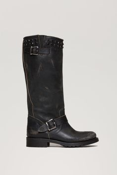 TWIN-SET Simona Barbieri: Vintage effect boot with strap and studs