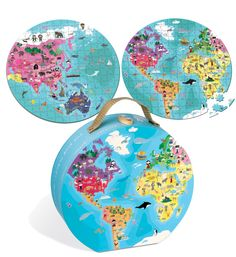 This 208 piece Janod jigsaw puzzle features a double sided world map. Australia and Asia on one side and the Americas, Africa and Europe on the reverse. A great gift item for older children. Presented in Janod's classic suitcase which is perfect for storing and gift giving.