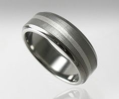 Men's Wedding Band Titanium Silver Swirl by spexton on Etsy, $349.00